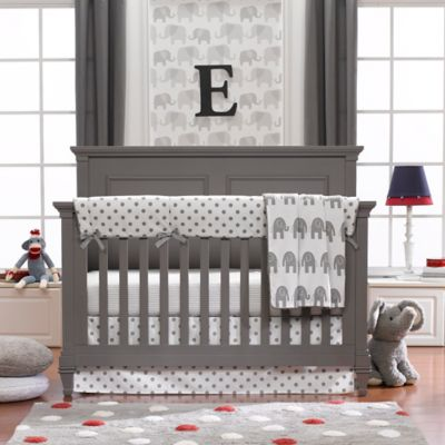 Crib Bedding Sets > Liz and Roo 4-Piece Grey Elephant Crib Bedding Set