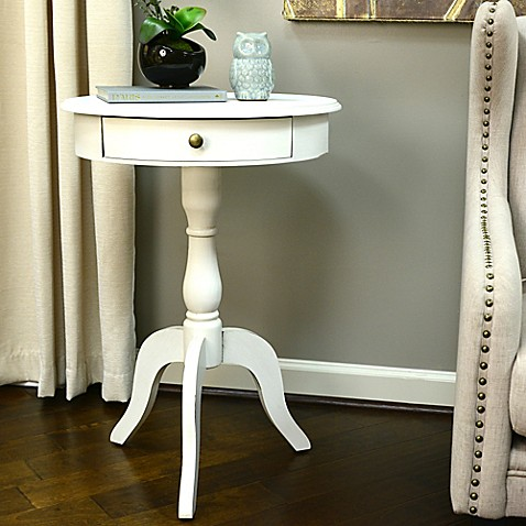 Decor therapy round pedestal side table in white www