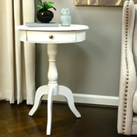 Decor Therapy Round Pedestal Side Table in White
