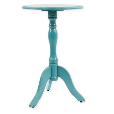 Decor Therapy Round Pedestal Accent Table In In Turquoise