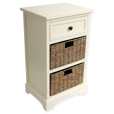 Decor Therapy Two Basket End Table In Antique White