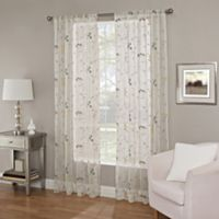 Callisto Home 108-Inch Meadow Embroidery Sheer Window Curtain Panel in Blue