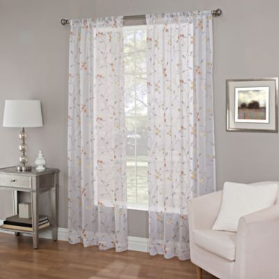 Callisto Home 63 Inch Meadow Embroidery Sheer Window Curtain Panel In Coral