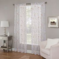 Callisto Home 108-Inch Meadow Embroidery Sheer Window Curtain Panel in Coral
