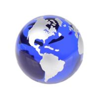 Badash 3-Inch Handpainted Globe Paperweight in Blue and Silver