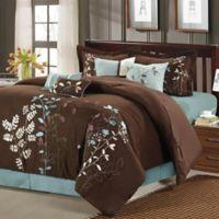 Chic Home Brooke 8-Piece Queen Comforter Set in Brown