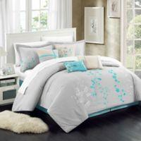 Chic Home Brooke 8-Piece Queen Comforter Set in Turquoise