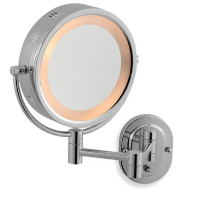 Buy lighted magnification mirrors from bed bath beyond jerdon 5x1x chrome lighted hardwired wall mount mirror mozeypictures Images