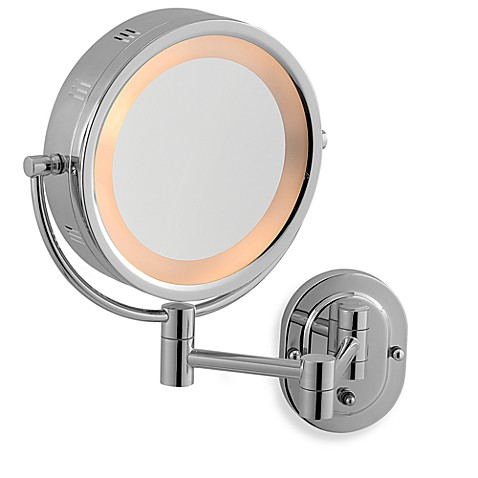 Jerdon 5x 1x Chrome Lighted Hardwired Wall Mount Mirror