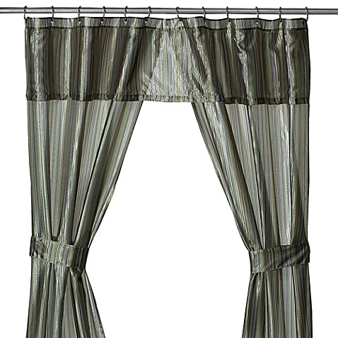 Andre Stripe Green Double Swag Shower Curtain Bed Bath Amp Beyond