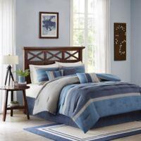 Madison Park Collins 7-Piece King Comforter Set in Navy