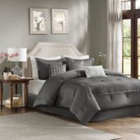 Madison Park Trinity Reversible 7-Piece Queen Comforter Set in Grey