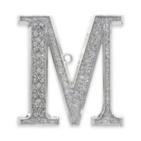 "Harvey Lewis™ Silverplate Letter ""M"" Monogram Christmas Ornament w/Swarovski® Crystals"
