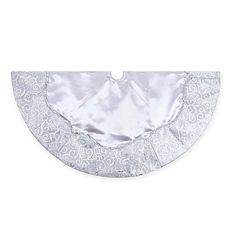 Kurt Adler 48 Inch Silver Satin Tree Skirt With Scroll