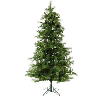 Foster Hill Farm 7.5 Foot Noble Fir Pre Lit Artificial Christmas Tree With  Multi