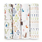 Aden + Anais® 4-Pack Paper Tales Swaddle Blanket in White
