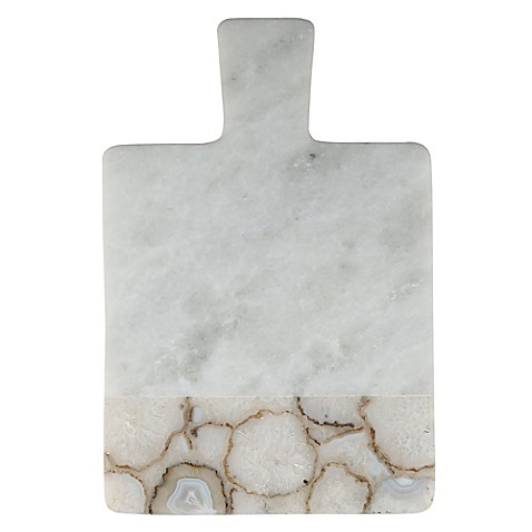 Artisanal Kitchen Supply 174 White Marble And Natural Agate