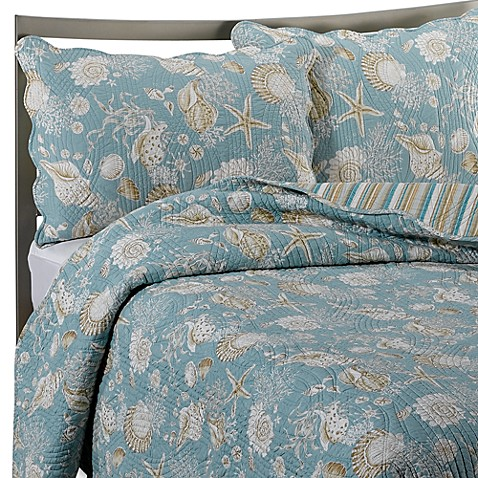 Natural Shells Reversible Quilt In Bluebeige Bed Bath Beyond