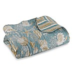 Natural Shells Reversible King Quilt in Blue/Beige