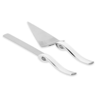 Olivia Oliver Ribbon 2 Piece Cake Knife And Server Set In Silver