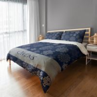 Snowflake Full/Queen Duvet Cover in Blue/Silver