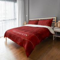 Holiday Snowflakes King Duvet Cover in Red