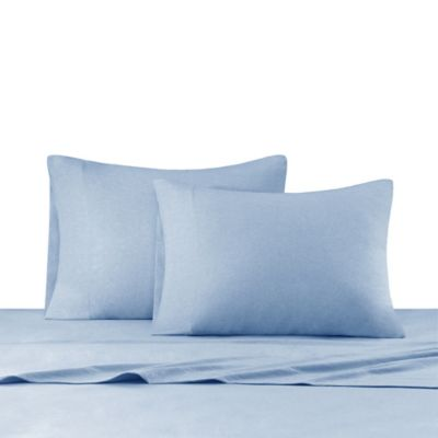 INK+IVY Heathered Cotton Jersey Knit Sheet Set Full In Blue