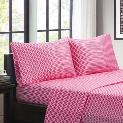 Beau Intelligent Design Chevron Microfiber Full Sheet Set In Pink