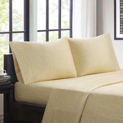 intelligent design chevron microfiber queen sheet set in yellow - Queen Bed Sheets