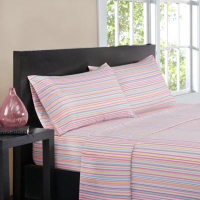intelligent design multistripe queen sheet set in pink