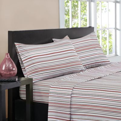 intelligent design multistripe queen sheet set in red - Striped Sheets