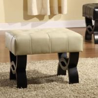 Cameron 24-Inch Tufted Leather Ottoman in Cream