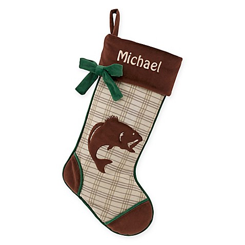 Rustic woodland 18 5 inch fish christmas stocking bed for Fish christmas stocking
