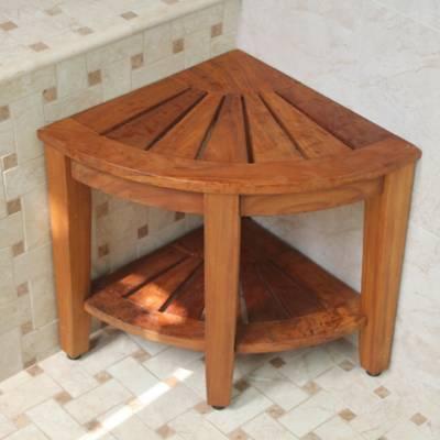 Haven™ Solid Teak Corner Vanity Stool - Bed Bath & Beyond