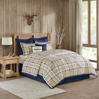 woolrich feather plaid reversible queen comforter set in tan - Plaid Comforter