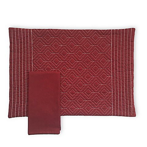 Quilted Placemat And Napkin Collection In Burgundy Bed