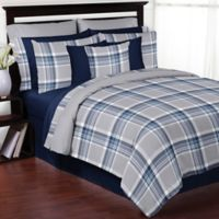 Sweet Jojo Designs Plaid Twin Comforter Set in Navy/Grey