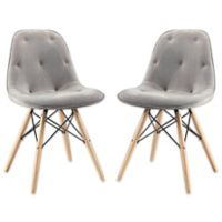 Walker Edison Upholstered Eames Style Dining Chairs (Set of 2)
