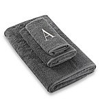 "Avanti Premier Silver Block Monogram Letter ""A"" Bath Towel in Granite"