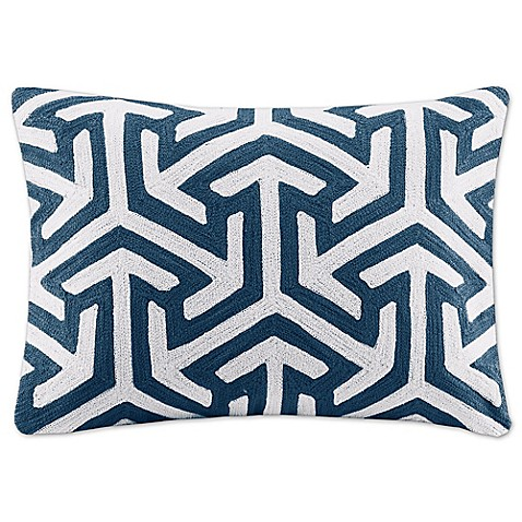 Madison Park Geometric Rectangle Throw Pillow in Blue - Bed Bath & Beyond