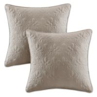 Madison Park Quebec 20-Inch Square Throw Pillows in Khaki (Set of 2)