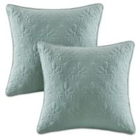 Madison Park Quebec 20-Inch Square Throw Pillows in Seafoam (Set of 2)