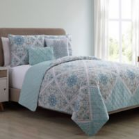 VCNY Windsor Reversible King Quilt Set in Aqua