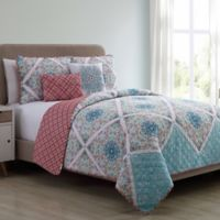 VCNY Windsor Reversible Queen Quilt Set in Blue/Coral