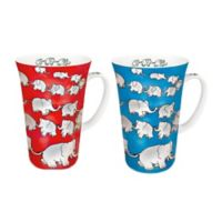 Konitz Chain of Elephants Mega Mugs in Blue/Red (Set of 4)