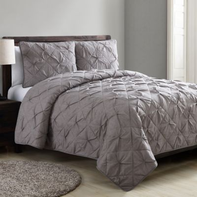 vcny jackie twin quilt set in grey - Twin Quilts