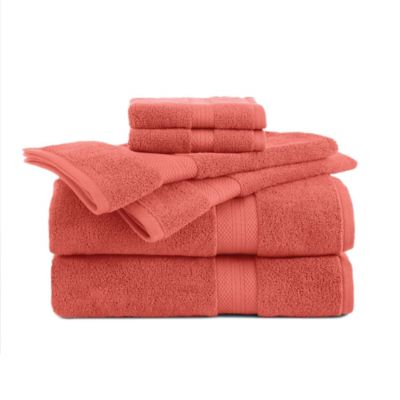 Delicieux Abundance 6 Piece Towel And Washcloth Set In Peach