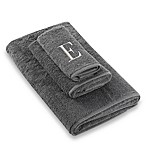 "Avanti Premier Silver Block Monogram Letter ""E"" Fingertip Towel in Granite"