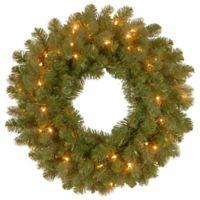 National Tree Company Feel Real® 24-Inch Downswept Douglas Wreath with Warm White LED Lights