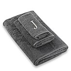 "Avanti Premier Silver Block Monogram Letter ""J"" Fingertip Towel in Granite"
